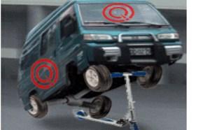 成人gif搞笑动态图:滑滑板车的面包车