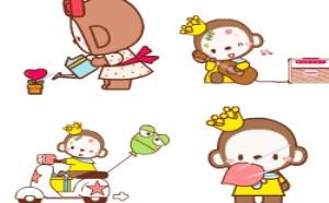 可爱QQ表情:MOKYO皇冠猴QQ表情下载