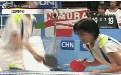 女子打乒乒球搞笑gif动态图片