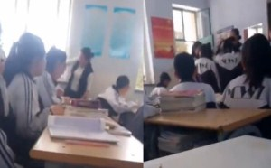 凶恶的小学老师教室内抽打七名女生